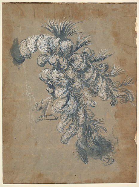 Fascinating Historical Picture of Baccio del Bianco with Design for a Lavish Headdress with Feathers in 1620