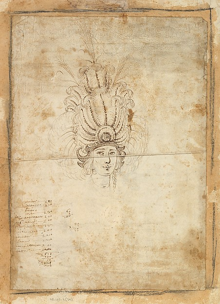 Fascinating Historical Picture of Baccio del Bianco with Design for a Mans Headdress in 1620