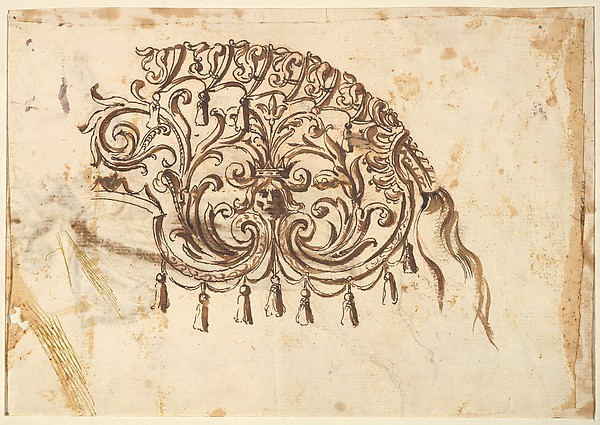 Fascinating Historical Picture of Baccio del Bianco with Textile Design for a Horse Cover in 1620