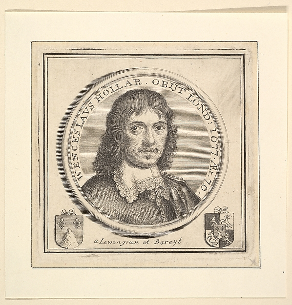 Bust of Hollar in a Circular Frame (published in Vertue's, Description of the Works of the Ingenious Delineator & Engraver, Wenceslaus Hollar)