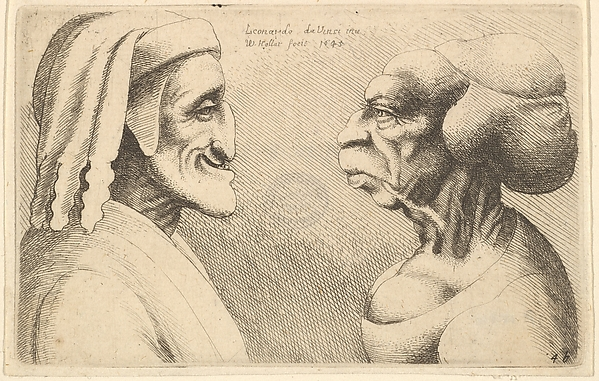 This is What Leonardo da Vinci and Two deformed heads (the figure on the left is possibly a caricature of Dante) Looked Like  in 1645
