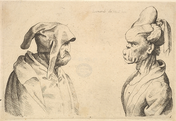 This is What Leonardo da Vinci and Two deformed heads facing each other Looked Like  in 1625