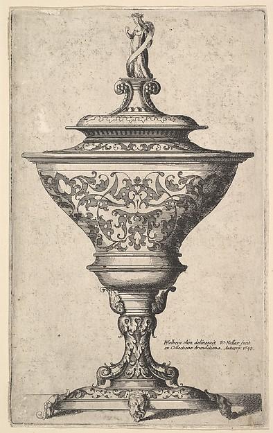 Ornate Goblet on Feet of Masks, after Holbein