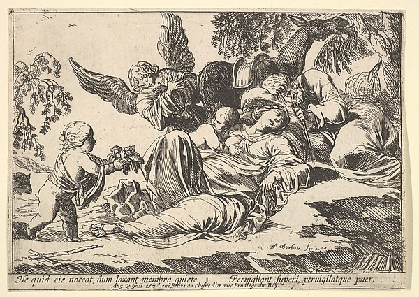 Fascinating Historical Picture of Pierre Brebiette with Angels Giving Fruit to the Sleeping Holy Family in 1610