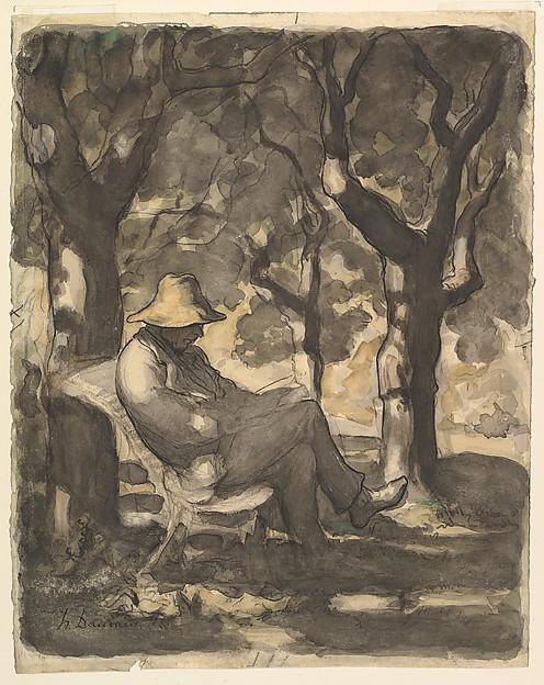 A Man Reading in a Garden (recto); Preliminary sketch for a Man Reading in a Garden (verso)