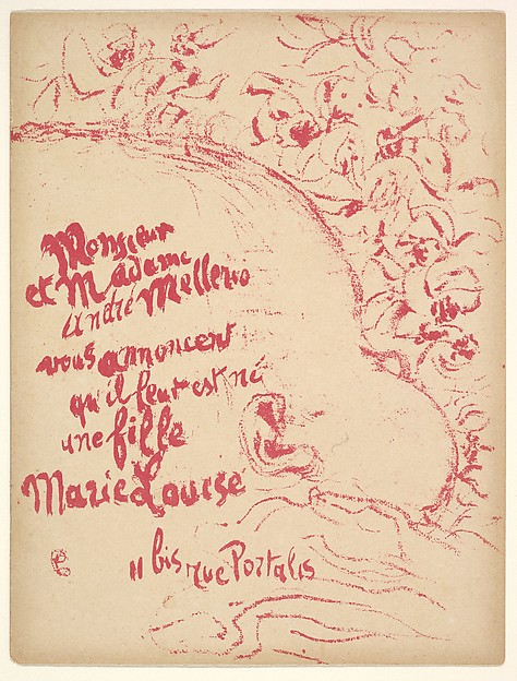 Birth Announcement for Marie-Louise Mellerio