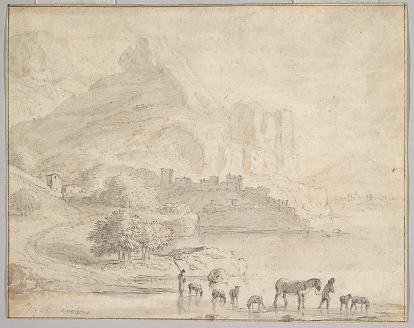Cattle and Shepherds in a Southern Mountainous Landscape