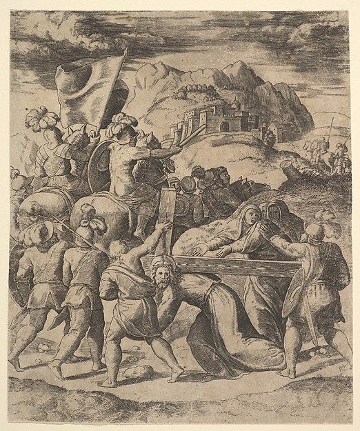 Christ carrying the cross surrounded by soliders, several on horseback