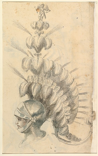 Fascinating Historical Picture of Baccio del Bianco with Design for an with Tournament Headdress in 1620