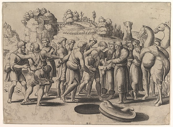 Fascinating Historical Picture of the Die with Joseph in the centre being sold by his brothers standing above a well camels at the right in 1533