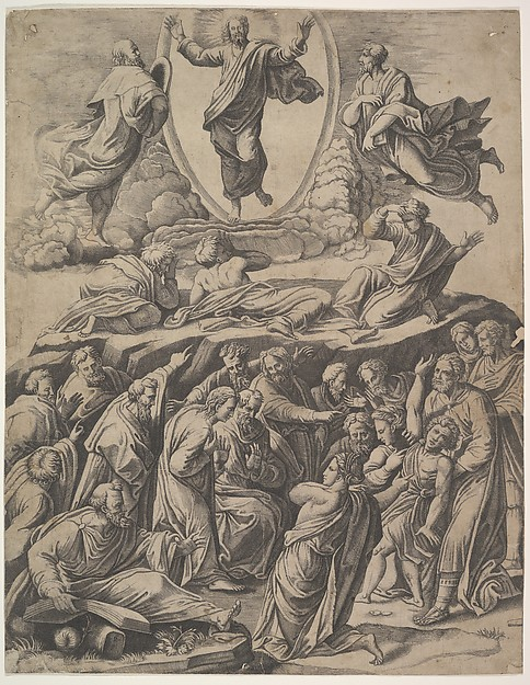 The Transfiguration of Christ who appears upper centre, below him various figures including the Apostles