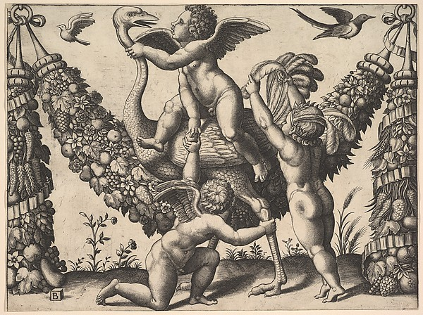 Three Putti Playing with an Ostrich