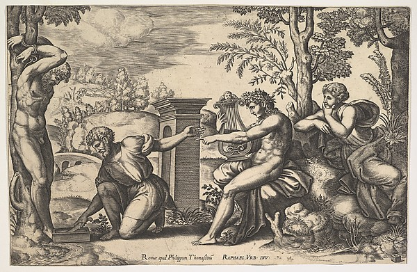 Apollo seated at the right with a lyre on his knee, pointing to a kneeling man who is about to flay Marsyas who is tied naked to a tree at left