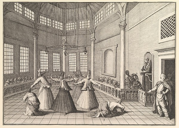 "The Inside of a Mosque, the Dervishes Dancing  (Aubry de La Mottraye's ""Travels throughout Europe, Asia and into Part of Africa...,""  London, 1724, vol. I, pl. 16)"