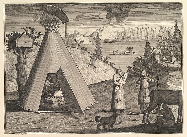 """A Lapland Hut (Aubry de La Mottraye's """"Travels throughout Europe, Asia and into Part of Africa...,""""  London, 1724, vol. II, pl. 38)"""