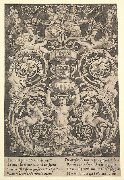 "Panel of Ornament (""Woman"" holding Vase)"