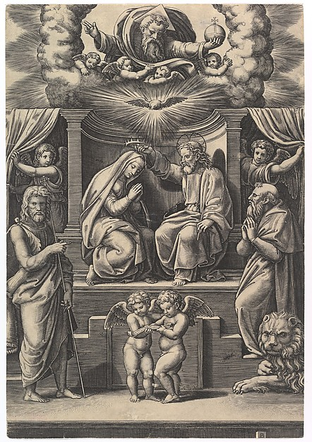 The Coronation of the Virgin, at lower left stands St John the Baptist, at lower right St Jerome, God the father above