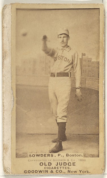 Sowders, Pitcher, Boston, from the Old Judge series (N172) for Old Judge Cigarettes