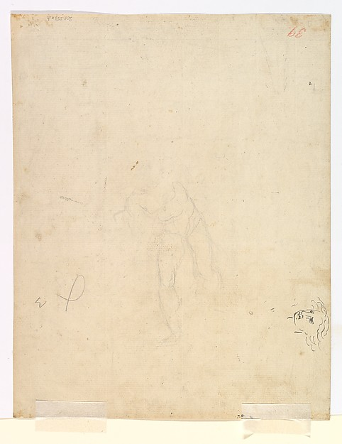 The Sword of Damocles; verso: Sketches of Man's Head and of a Figure with a Raised Arm