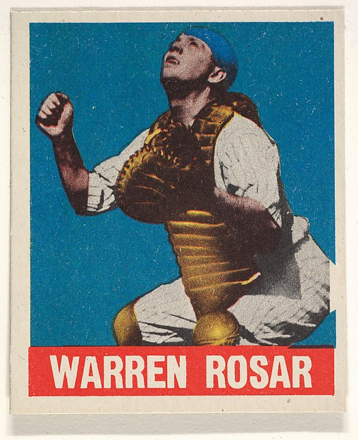Warren Rosar, Philadelphia Athletics, from the All-Star Baseball series (R401-1), issued by Leaf Gum Company