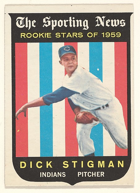 "Dick Stigman, Pitcher, Cleveland Indians, from the ""1959 Topps Regular Issue"" series (R414-14), issued by Topps Chewing Gum Company."