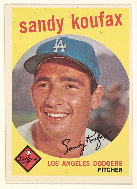 "Sandy Koufax, Pitcher, Los Angeles Dodgers, from the ""1959 Topps Regular Issue"" series (R414-14), issued by Topps Chewing Gum Company."