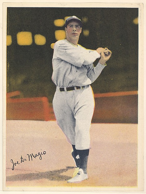 Joe DiMaggio, from the Colored Photos Premiums series (R312) issued by the National Chicle Gum Company