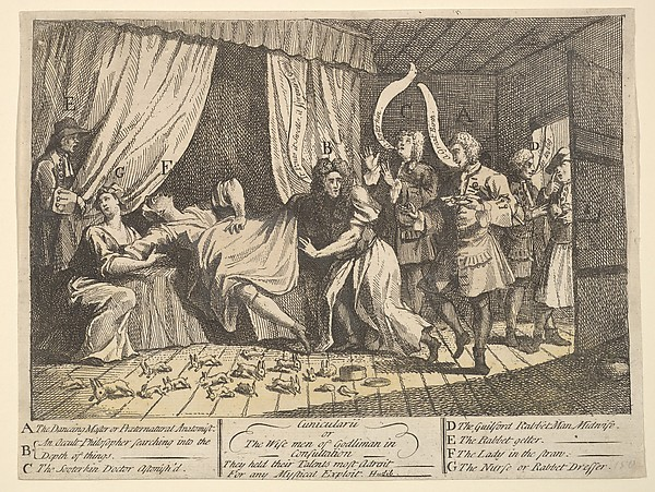 Fascinating Historical Picture of William Hogarth with Cunicularii or the Wise Men of Godlimon in Consultation on 12/15/1726