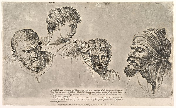 Fascinating Historical Picture of Raphael with Four Heads From the Raphael Cartoons at Hampton Court on 5/14/1781