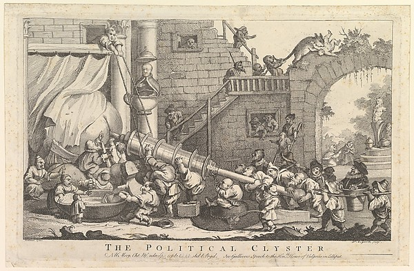 Fascinating Historical Picture of Derived from William Hogarth with The Political Clyster on 1/15/1757