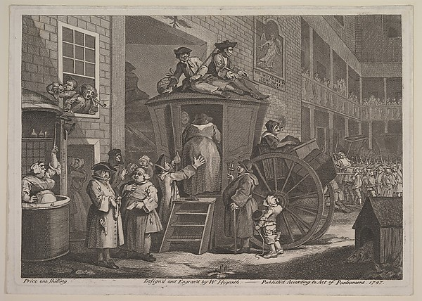 Fascinating Historical Picture of William Hogarth with The Stage Coach or Country Inn Yard on 6/15/1747