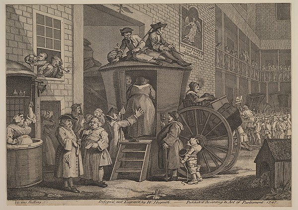 Fascinating Historical Picture of William Hogarth with The Stage Coach or The Country Inn Yard in 1747