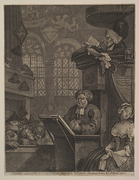 Fascinating Historical Picture of William Hogarth with The Sleeping Congregation on 10/26/1736