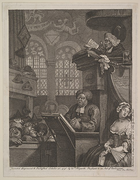 Fascinating Historical Picture of William Hogarth with The Sleeping Congregation on 4/21/1762