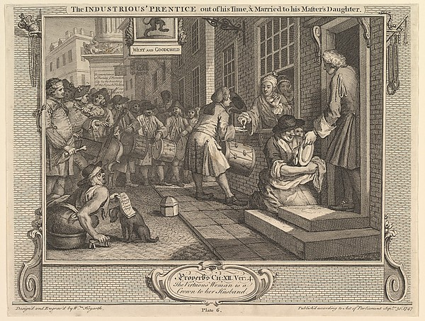 The Industrious 'Prentice Out of his Time and Married to his Master's Daughter (Industry and Idleness, plate 6)