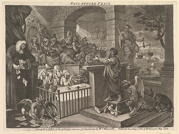 Fascinating Historical Picture of William Hogarth with Paul Before Felix Burlesqued on 5/15/1751