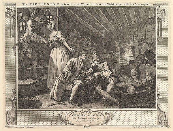 The Idle 'Prentice Betrayed by his Whore and Taken into a Night Cellar with his Accomplice: Industry and Idleness, plate 9