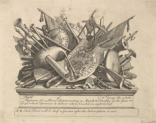 Fascinating Historical Picture of William Hogarth with A Stand of Arms Musical Instruments etc. on 3/15/1749