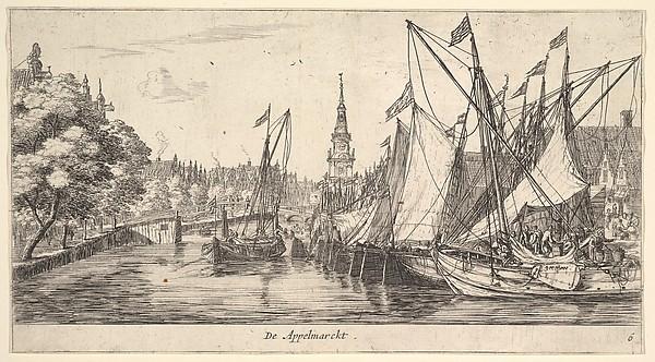 De Appelmarckt (The Apple Market), from Views in Amsterdam, plate 6
