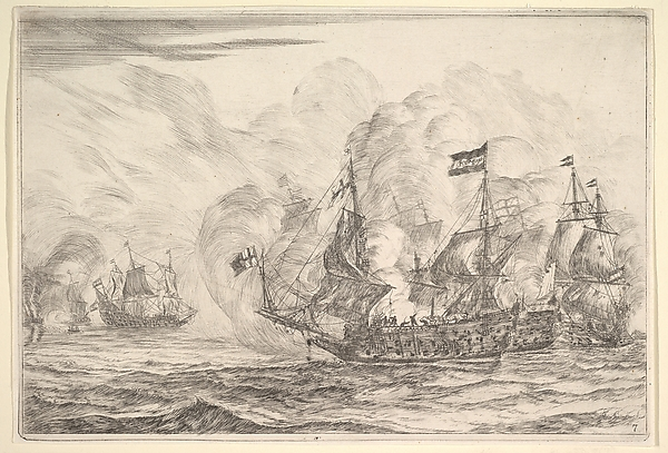 Naval Encounter with Three Vessels on the Right, from Naval Battles (Nieuwe Scheeps Batalien), plate 7