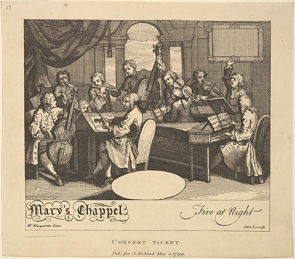 Fascinating Historical Picture of William Hogarth with Concert Ticket - Marys Chappel Five at Night on 5/1/1799