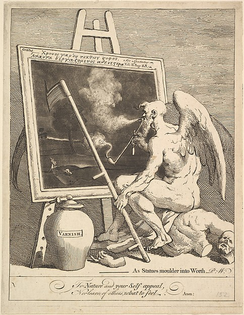 Fascinating Historical Picture of William Hogarth with Time Smoking a Picture on 3/15/1761