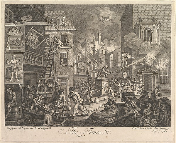 Fascinating Historical Picture of William Hogarth with The Times Plate 1 on 9/7/1762