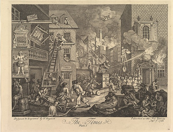 Fascinating Historical Picture of William Hogarth with The Times Plate 1 on 9/15/1762