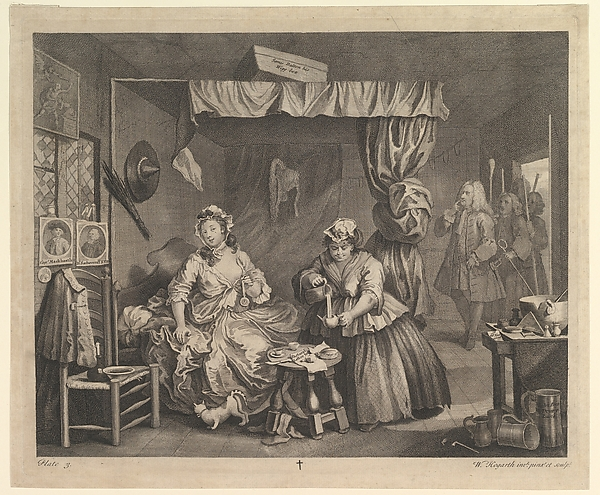 Fascinating Historical Picture of William Hogarth with A Harlots Progress Plate 3 on 4/15/1732