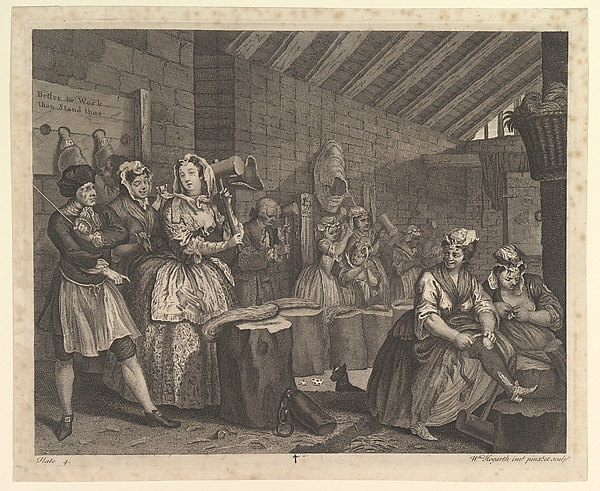 Fascinating Historical Picture of William Hogarth with A Harlots Progress Plate 4 on 4/15/1732