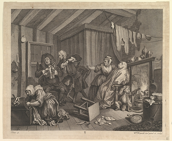Fascinating Historical Picture of William Hogarth with A Harlots Progress Plate 5 on 4/15/1732