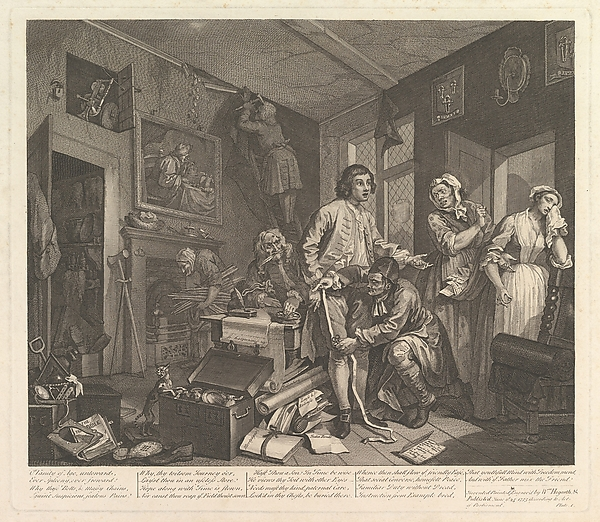 Fascinating Historical Picture of William Hogarth with A Rakes Progress Plate 1 on 6/25/1735
