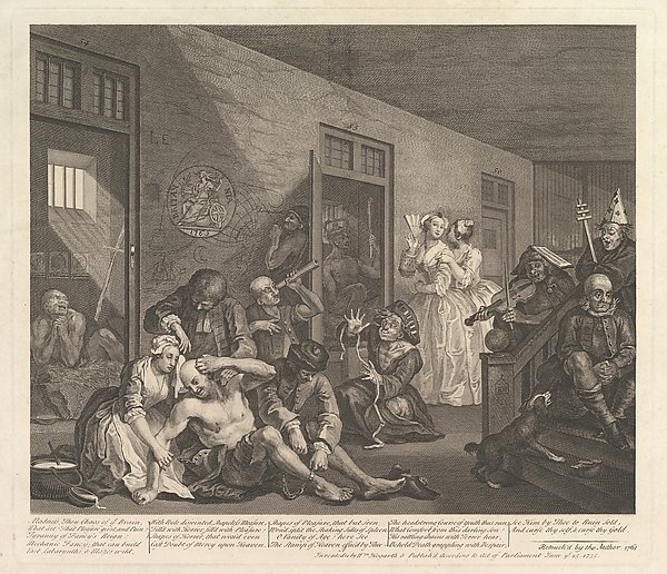 Fascinating Historical Picture of William Hogarth with A Rakes Progress Plate 8 on 6/25/1735