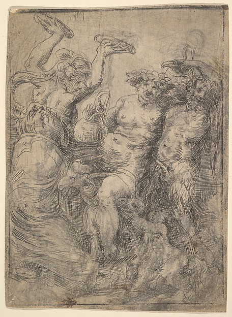 Bacchic revel with Silenus riding a goat in the centre